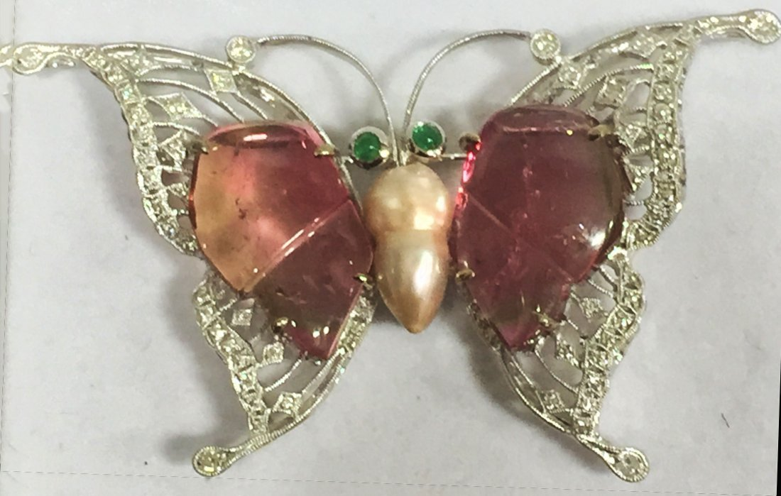 18k White Gold Tourmaline Butterfly Brooch