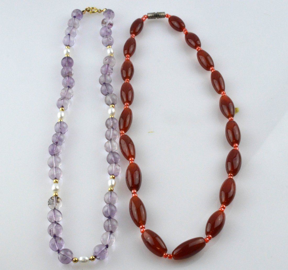 Red Agate Necklace & Amethyst Necklace