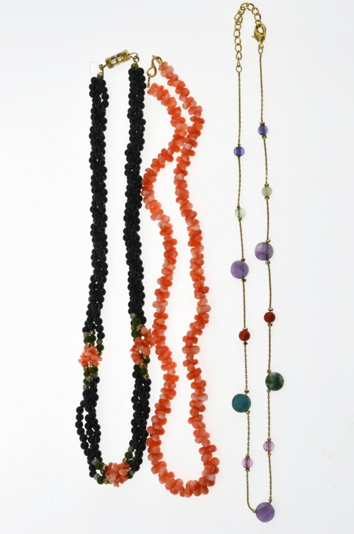 Black Coral Necklace, Red Coral Necklace & Multiple Gem