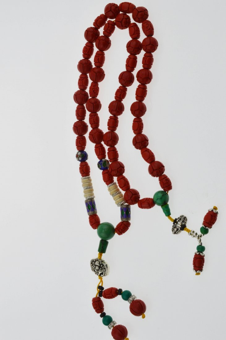Red Cinnabar & Turquoise Beads Necklace