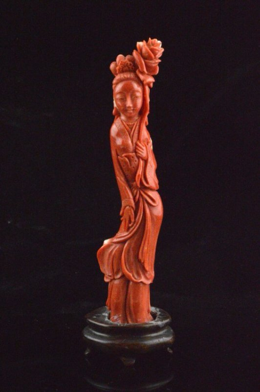 Red Coral Carved Chinese Beauty Statue (w/Wooden Stand)
