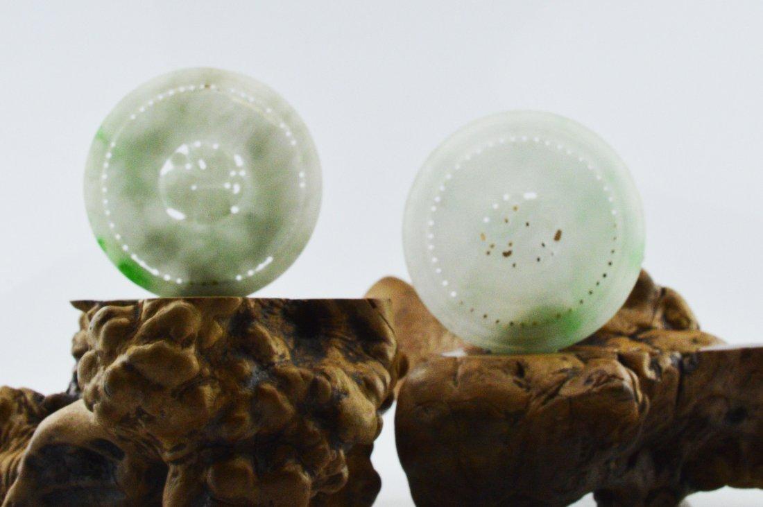 Pair of Jadeite Carved Round Pieces