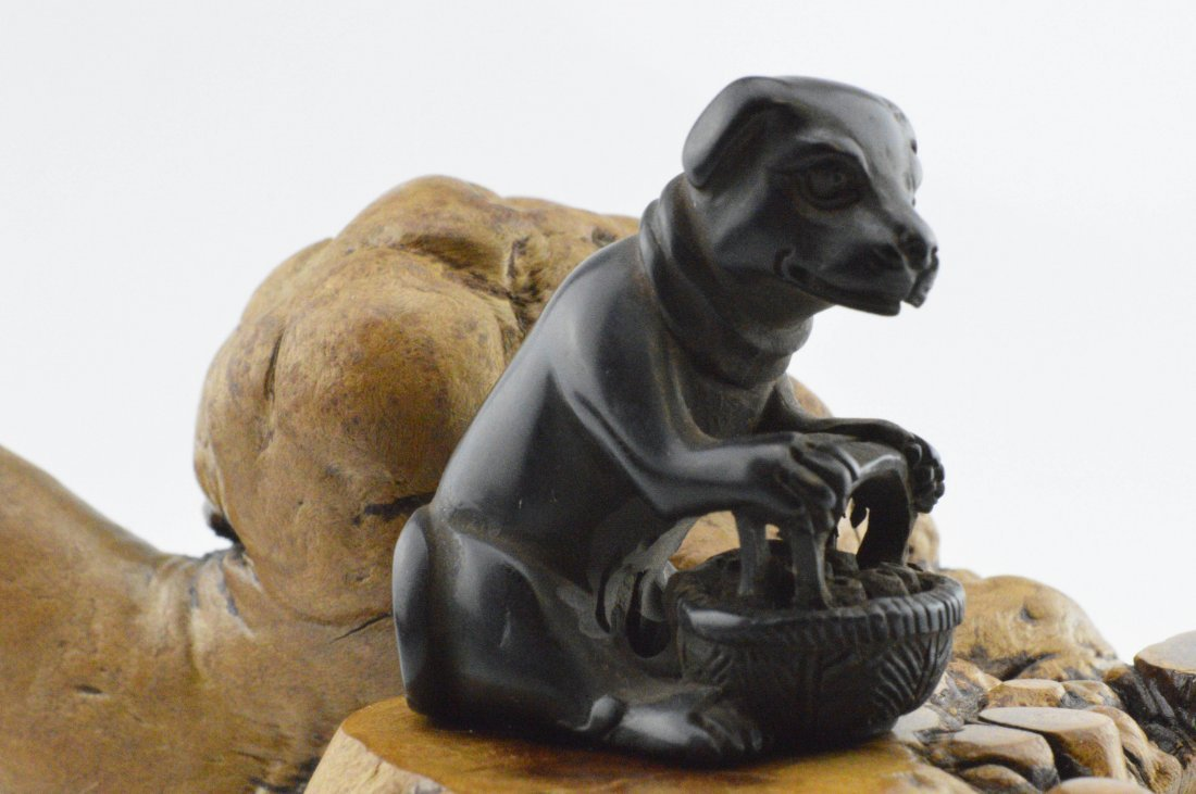 Antique Wood Carved Netsuke: Puppy