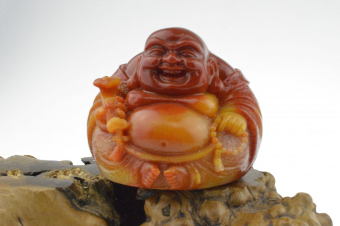 Shoushan Stone Carved Happy Buddha Figure