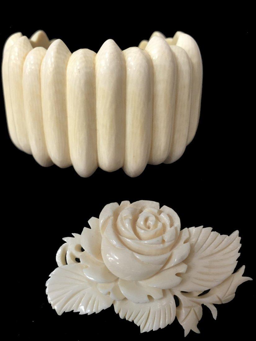 Vintage Ivory Carved Bangle + Vintage Ivory Carved Rose