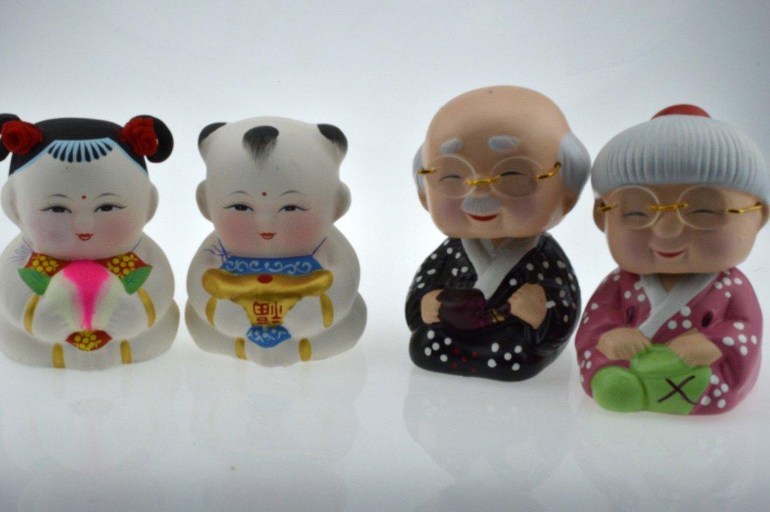 Pair of Ceramic Dolls + Pair of Ceramic Chinese Golden