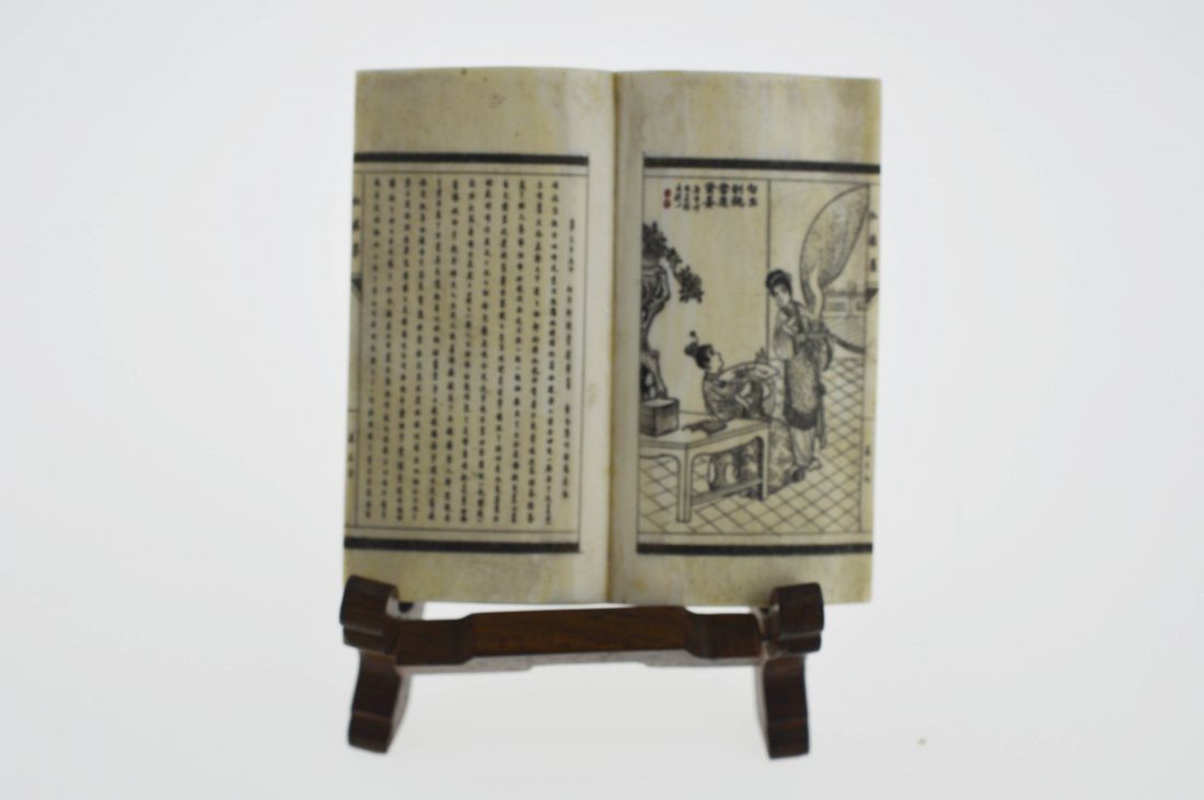 """Bone Micro-Engraved Book - """"Dream of the Red Chamber"""""""