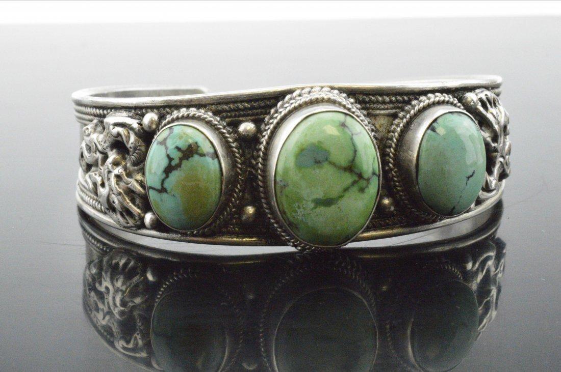 Vintage Tibetan Turquoise Silver Bangle