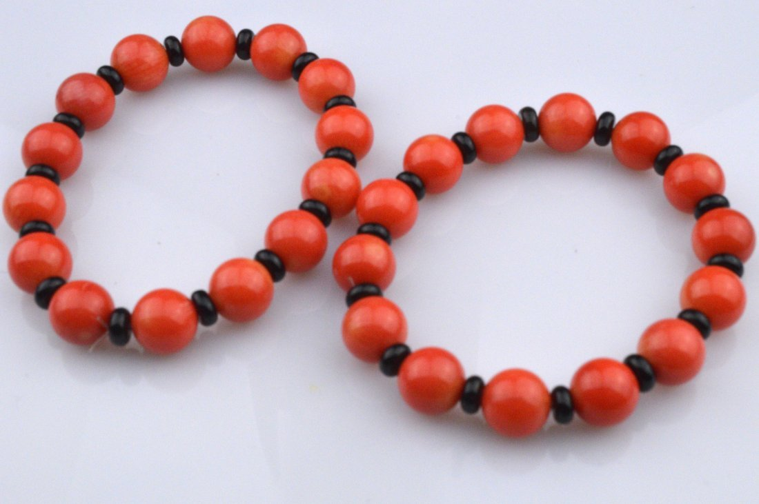 Pair of Coral Beads Bracelets