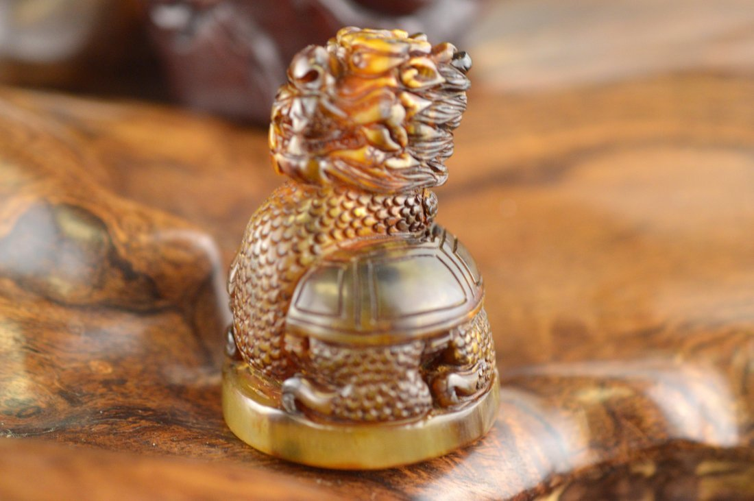 Horn Carved Dragon Turtle Seal