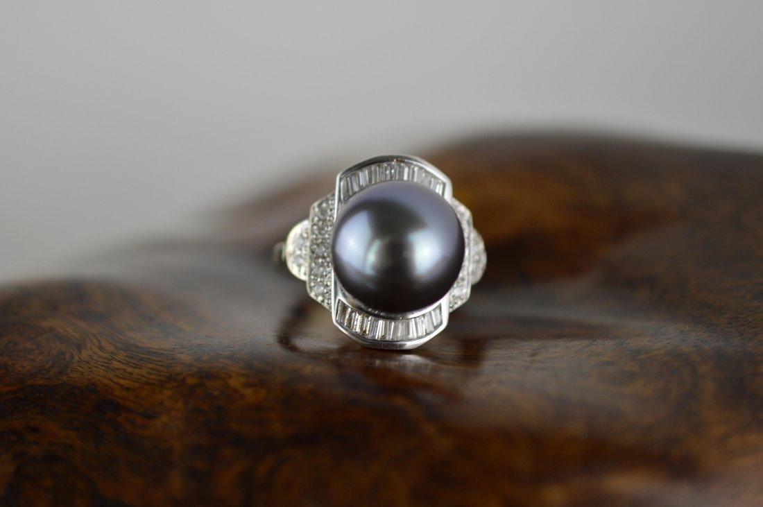 Tahiti Black Pearl 14k White Gold Ring
