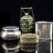 4 Item Set of Cloisonne Enamel, Silver, and Copper