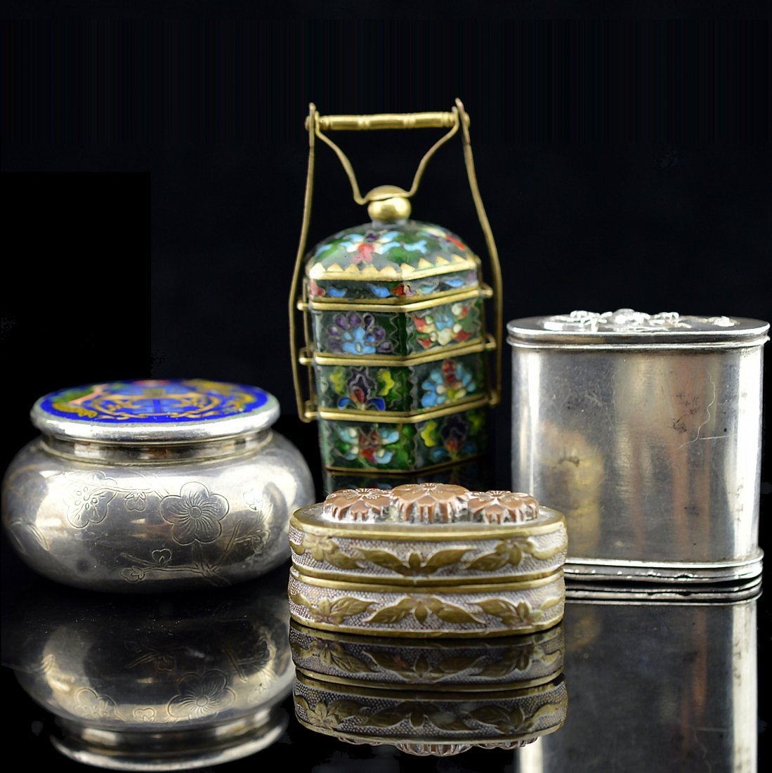 4 Item Set of Cloisonne Enamel, Silver, and Copper