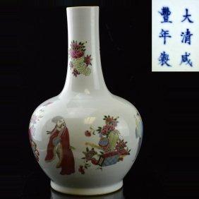 Figure Painted Porcelain Vase