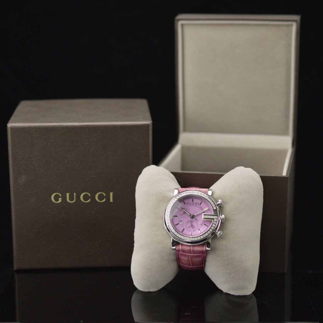 Gucci G-Chrono Pink Crocodile Leather Women's Watch