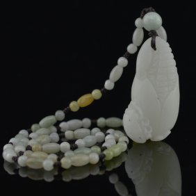 Certified Hetian White Jade Carved Corn Necklace