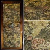 Framed 19th Japanese Silk Painting