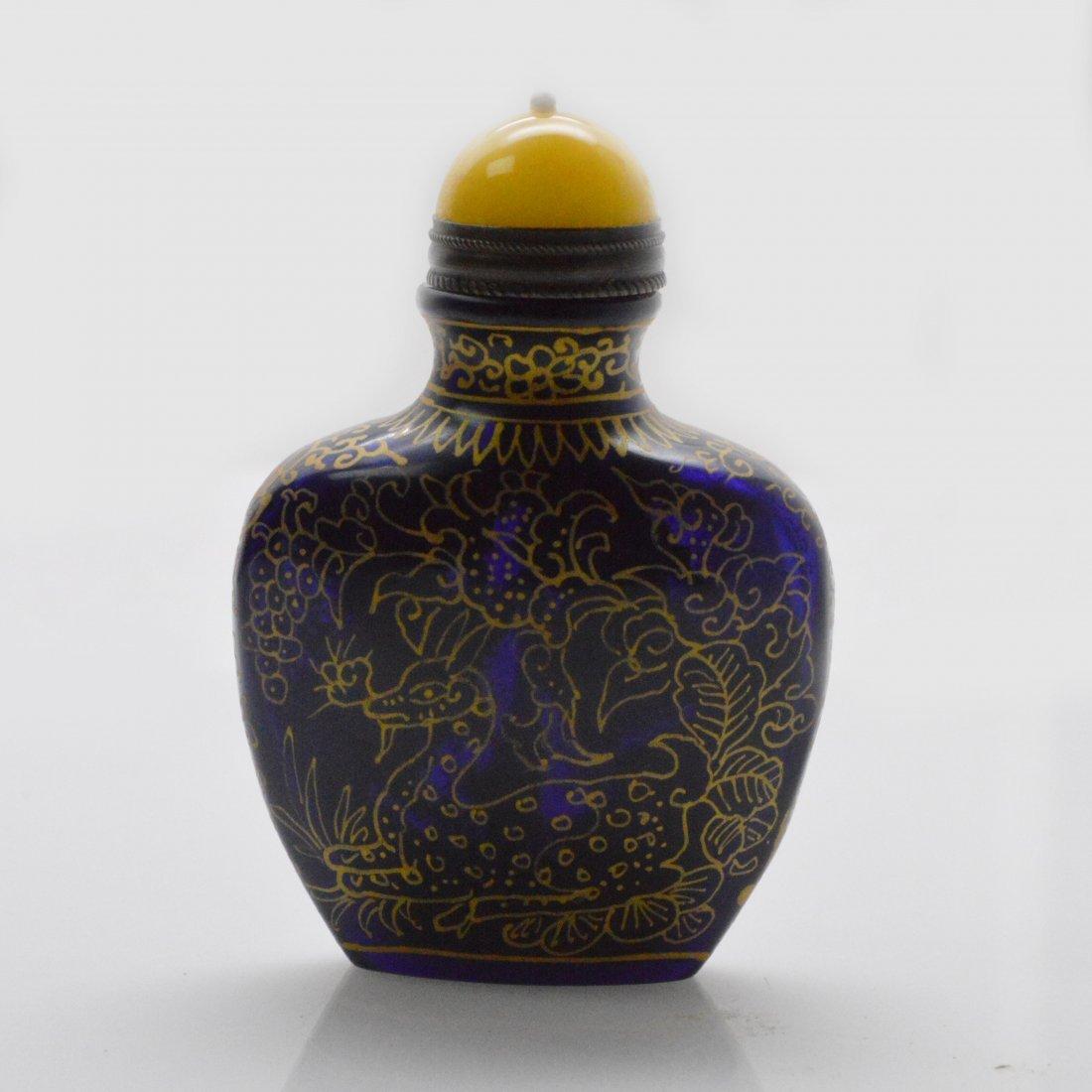Marked Blue Liuli Snuff Bottle