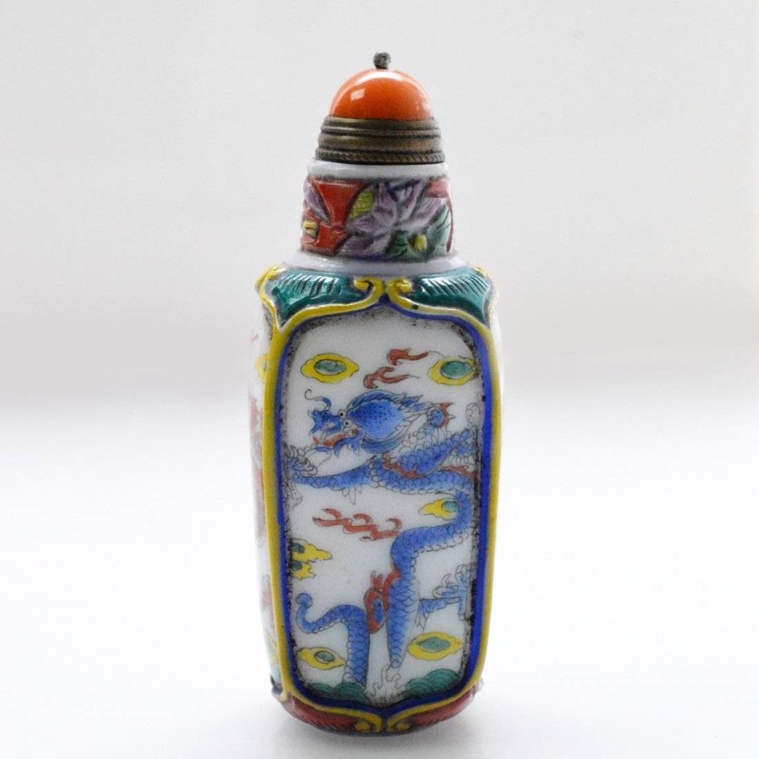 Marked Liuli Dragon Snuff Bottle - 3