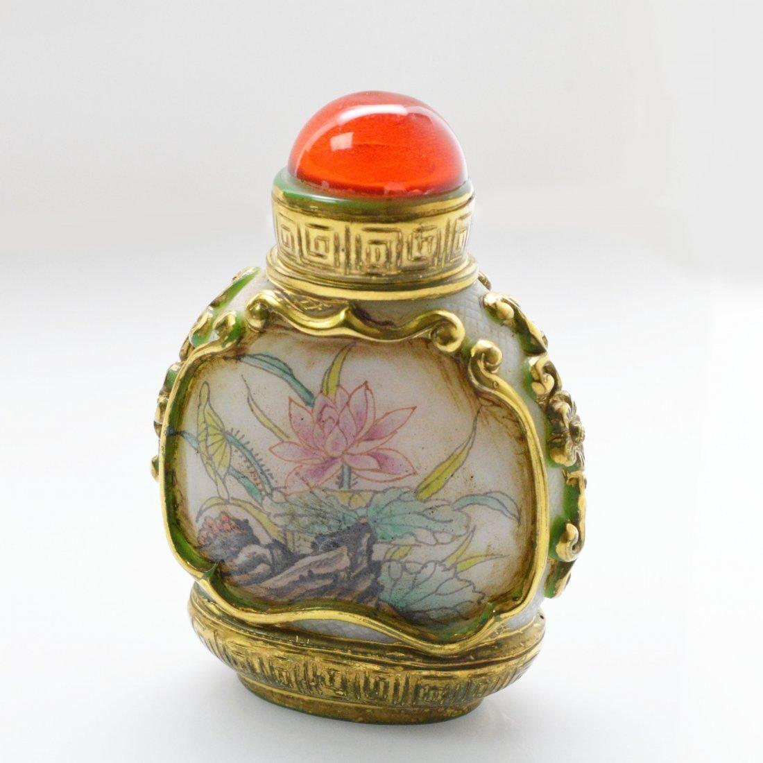 Marked Liuli Peonies Snuff Bottle - 5