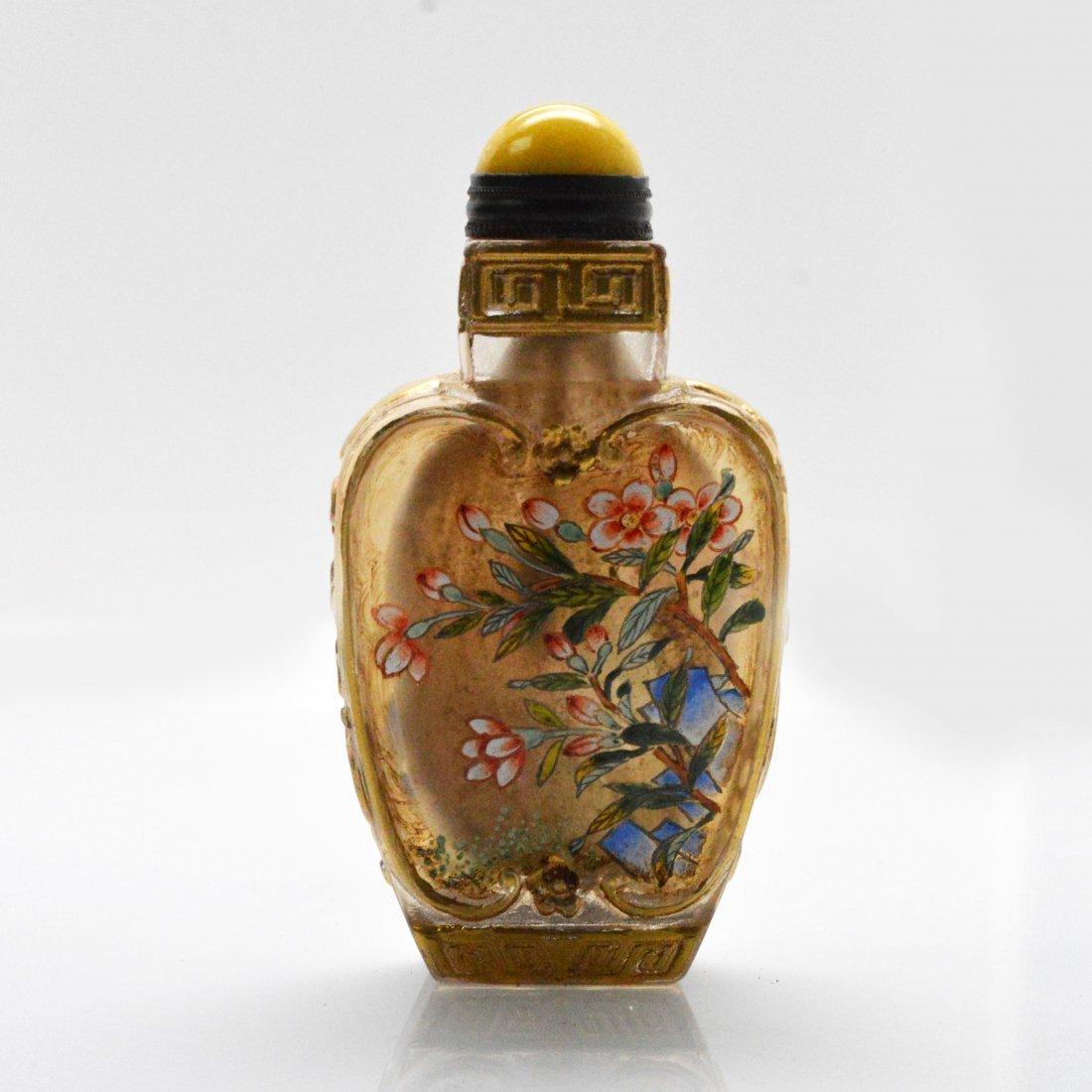 Marked Liuli Peony Snuff Bottle