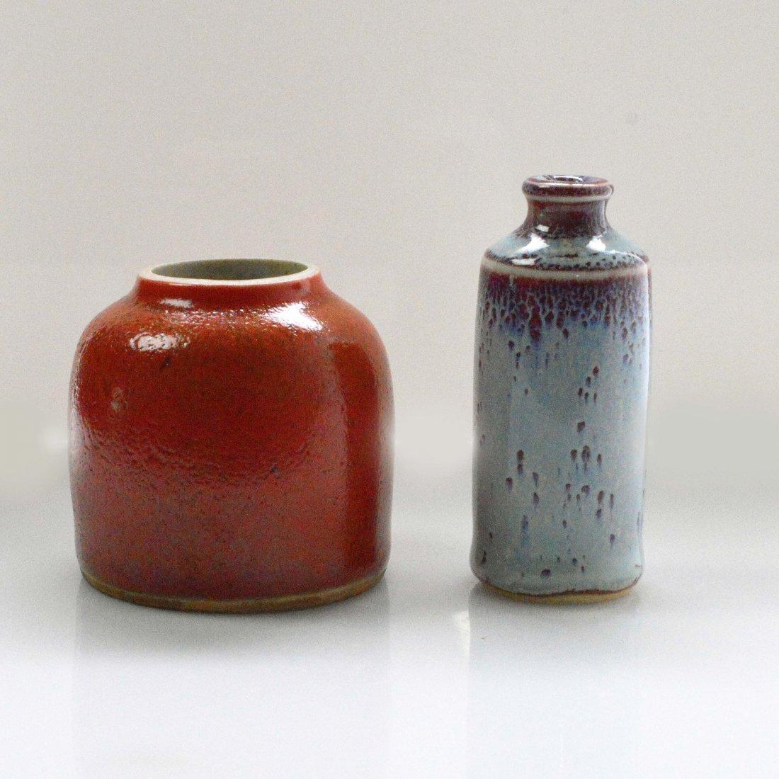 Jun Celadon Porcelain Snuff Bottle + Marked Red Glazed