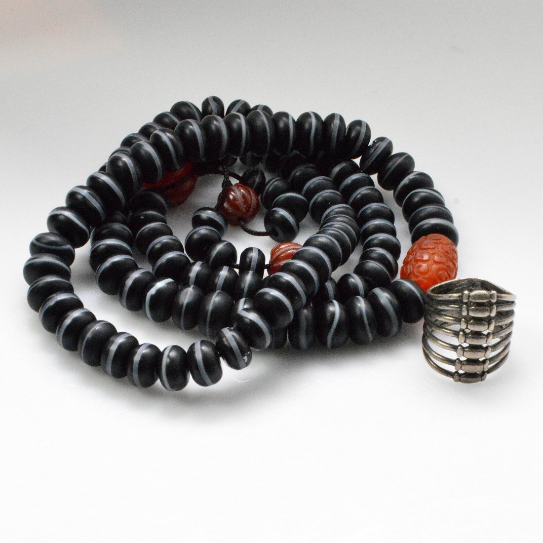 Medicine Buddha Dzi Beads Necklace + Vintage Silver