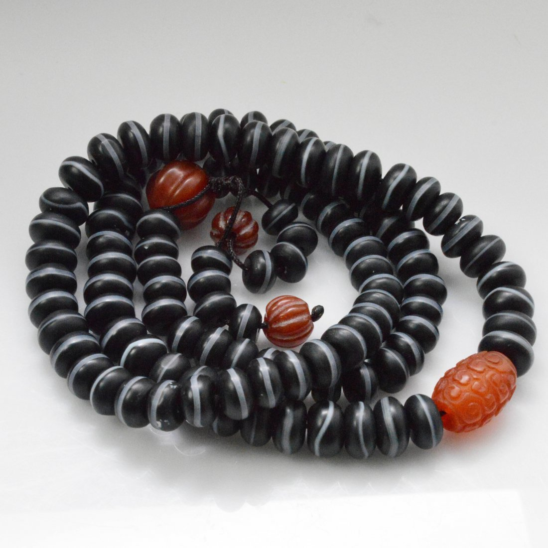 Medicine Buddha Dzi Beads Necklace + Vintage Silver - 3
