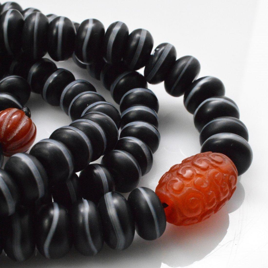 Medicine Buddha Dzi Beads Necklace + Vintage Silver - 4