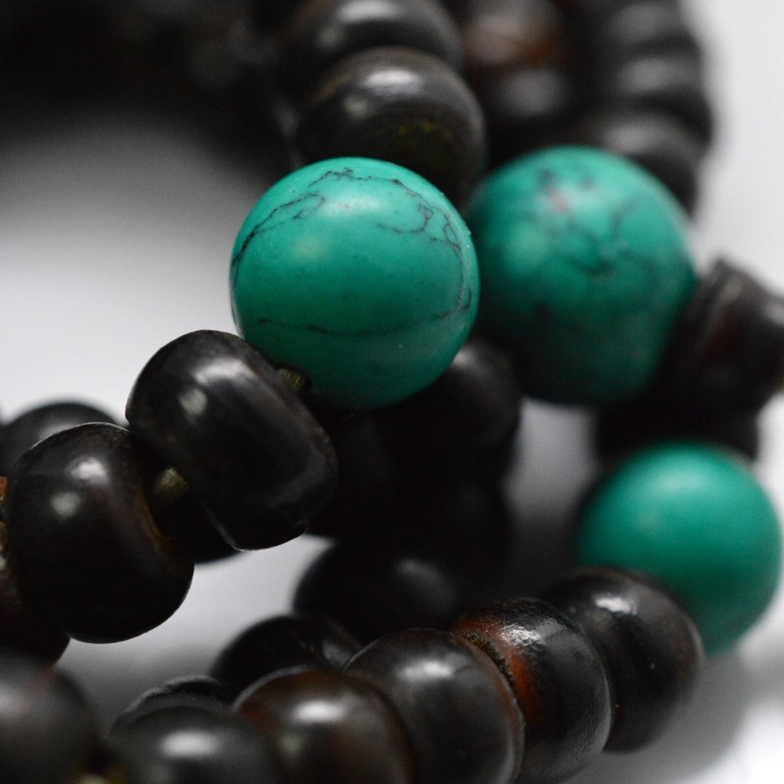 Vintage Horn and Turquoise carved prayer beads - 2