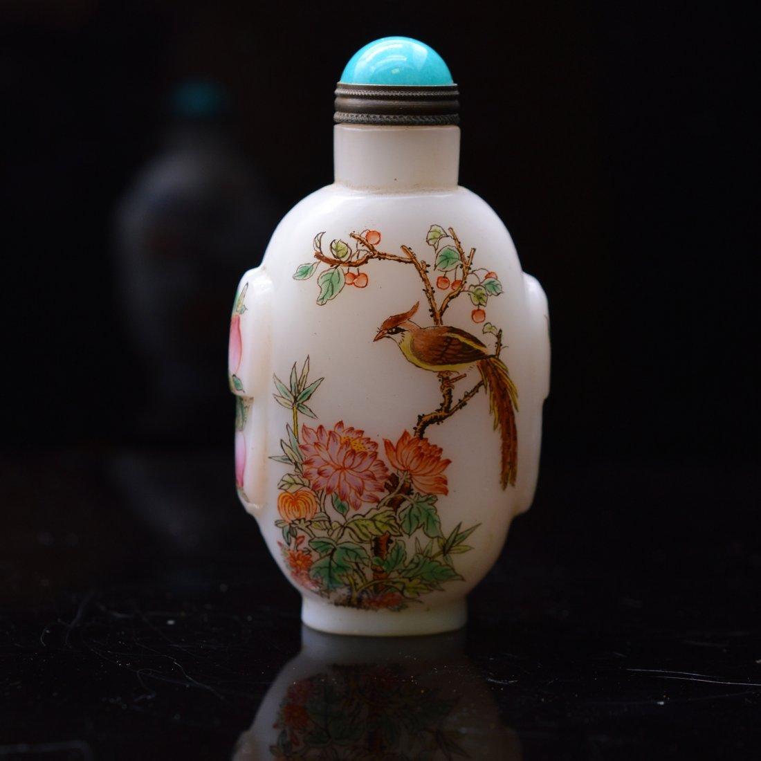 Marked Liuli Flower Snuff Bottle