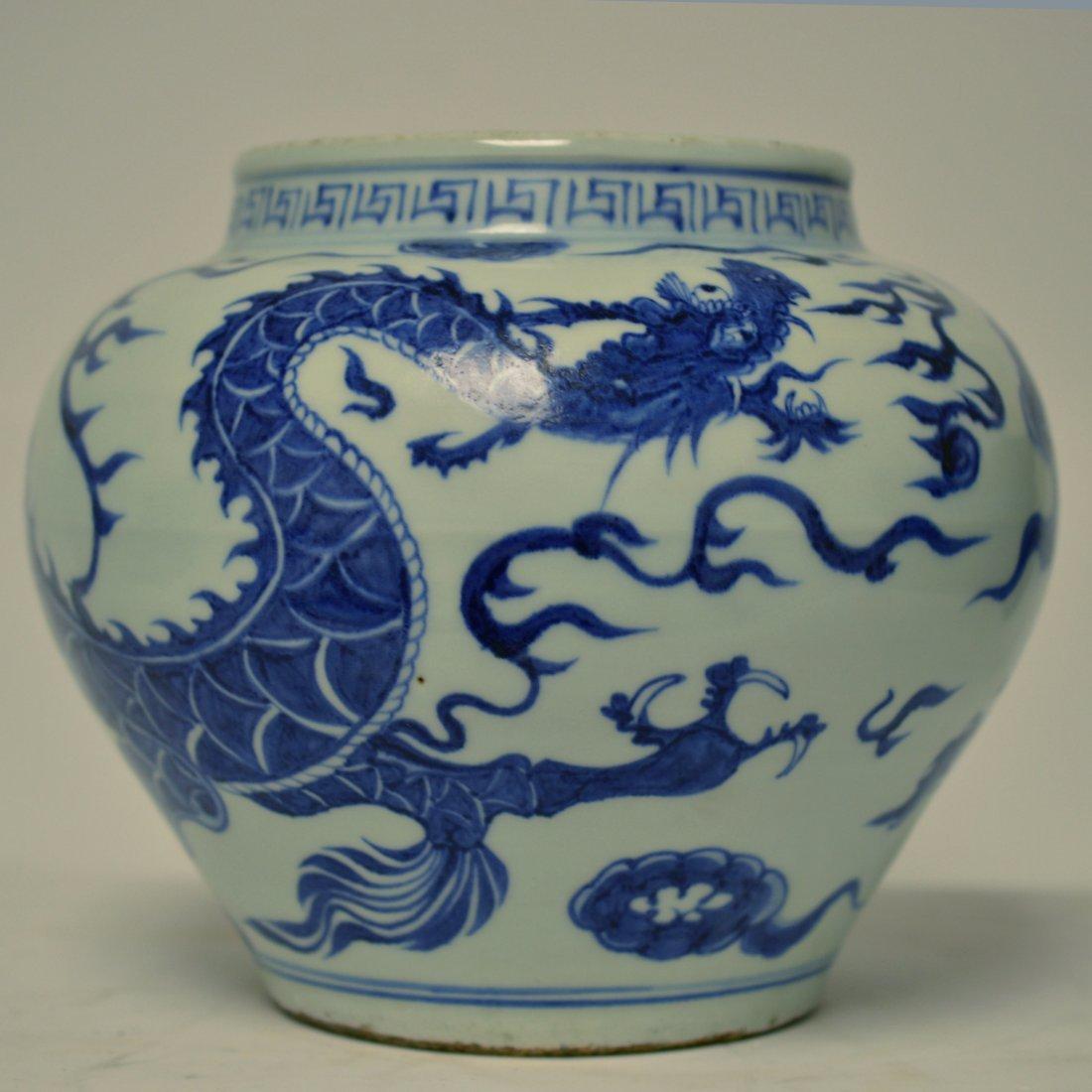 Yuan Style Blue & White Porcelain Dragon Pot