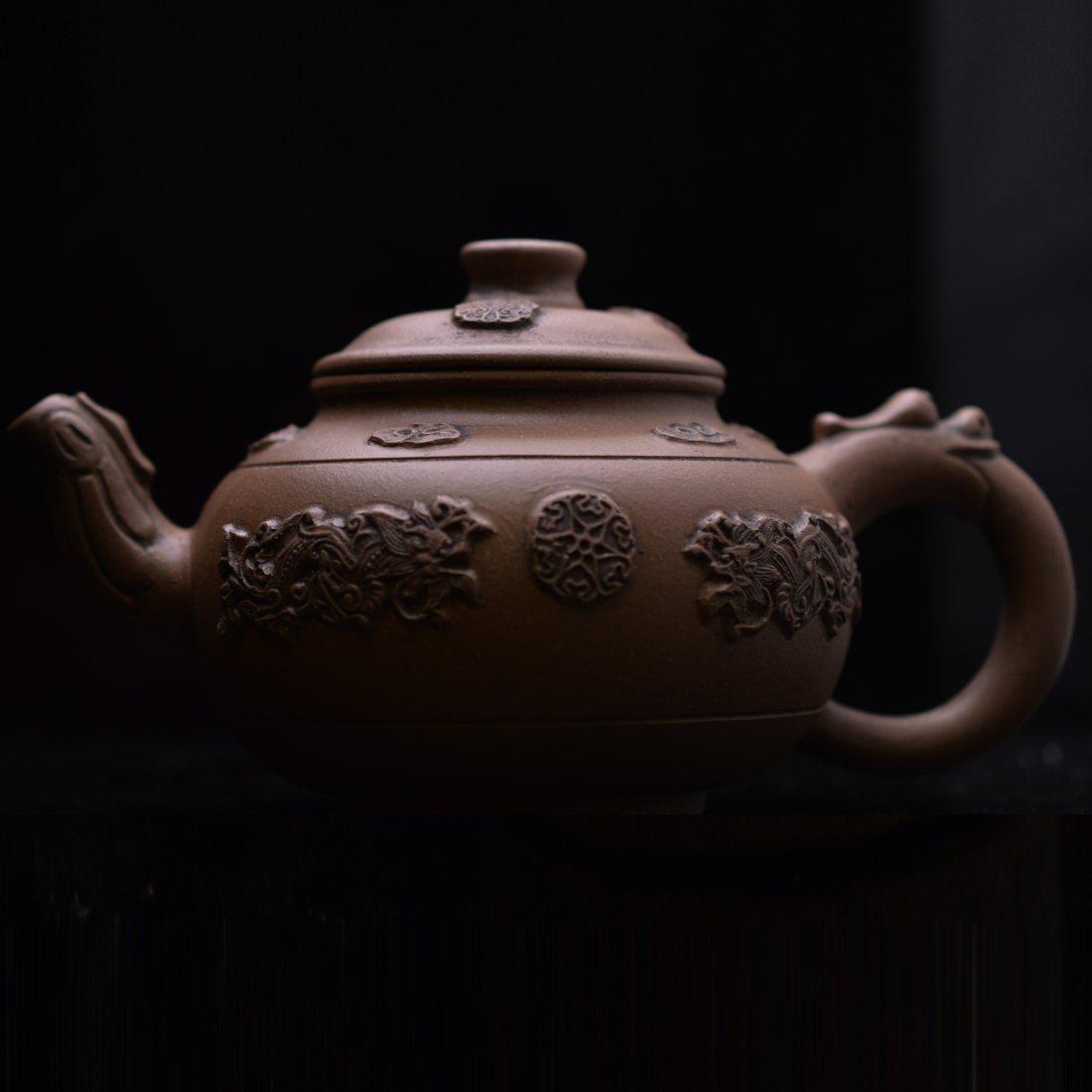 Double Dragons Zi Sha Tea Pot