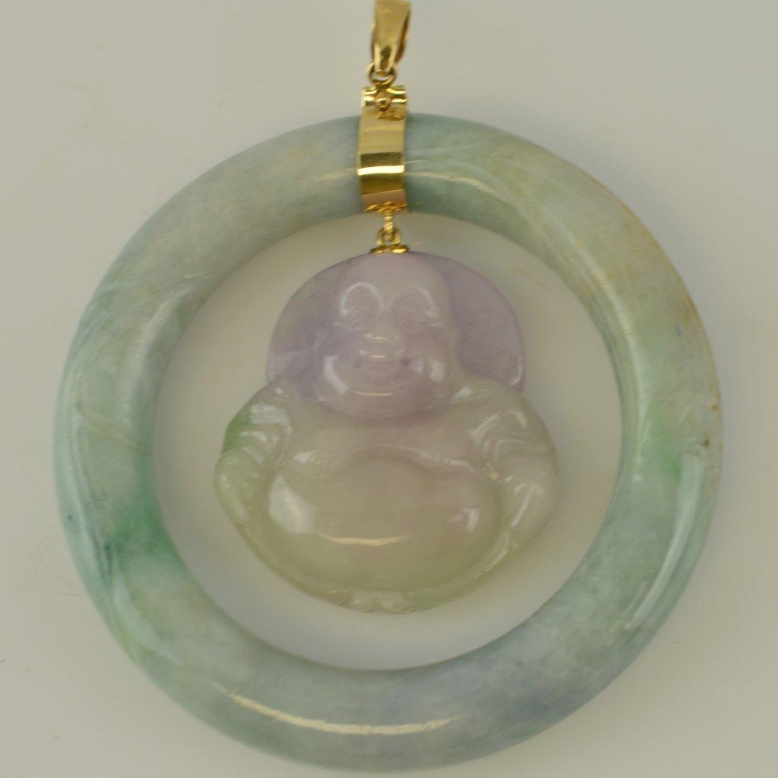 Lavender Jadeite Carved Happy Buddha Pendant