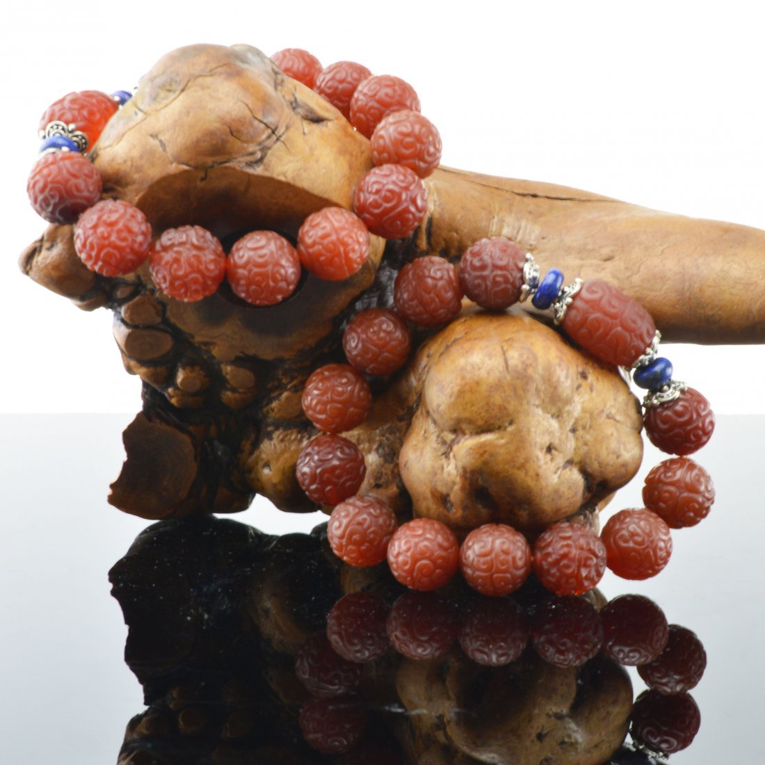 Pair of Nan Hong Agate Carved Bracelets