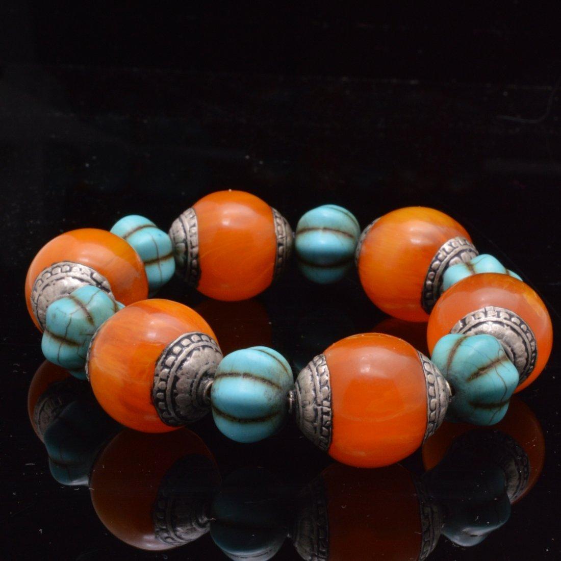 2 Turquoise Royal Amber Bracelets