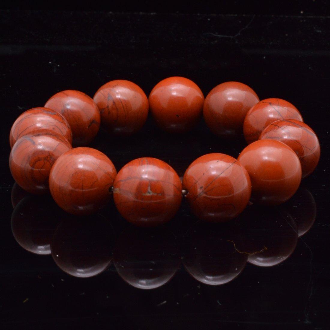 Flame Red Nanhong Agate Bead Bracelet