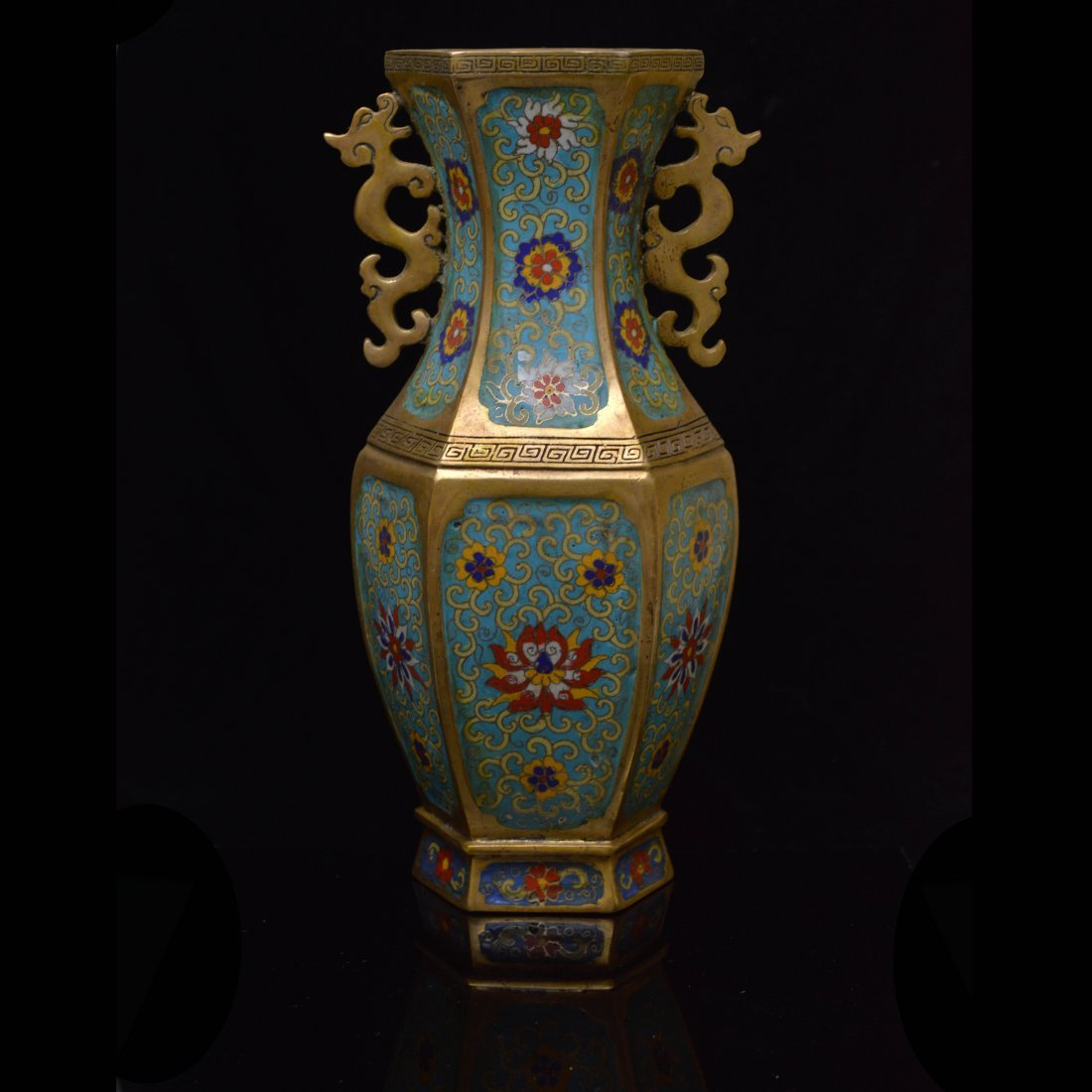 Marked Chinese Cloisonne Enamel Copper Vase