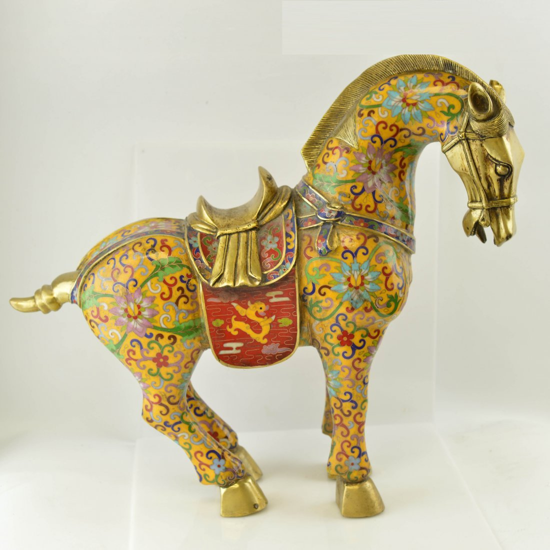 Marked Chinese Cloisonne Enamel Copper War-Horse