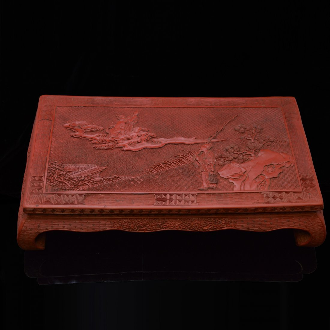Marked Cinnabar Lacquer Carved Tray