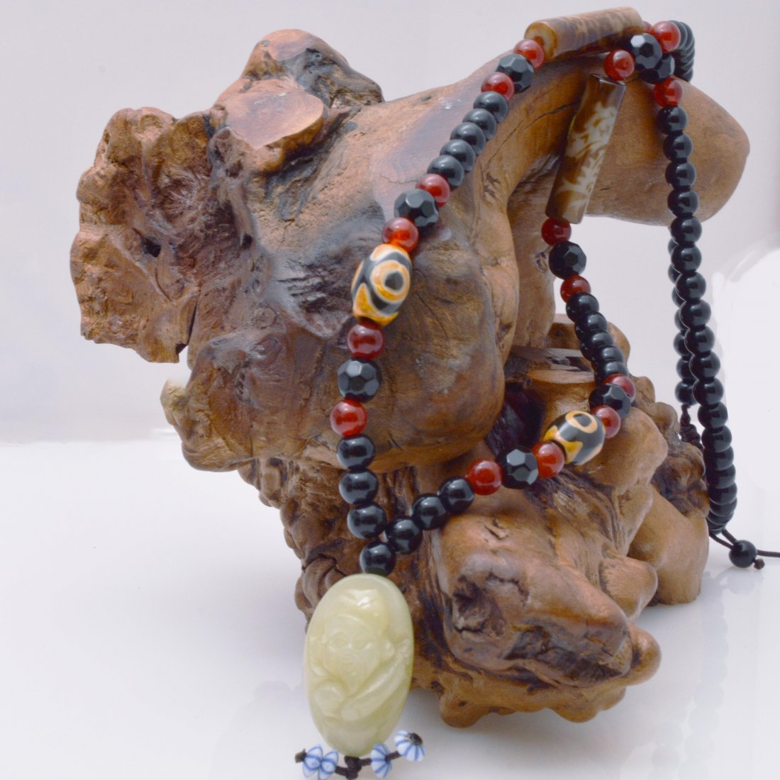 Green Jade Carved Shouxing Pendant w/Dzi Bead Necklace