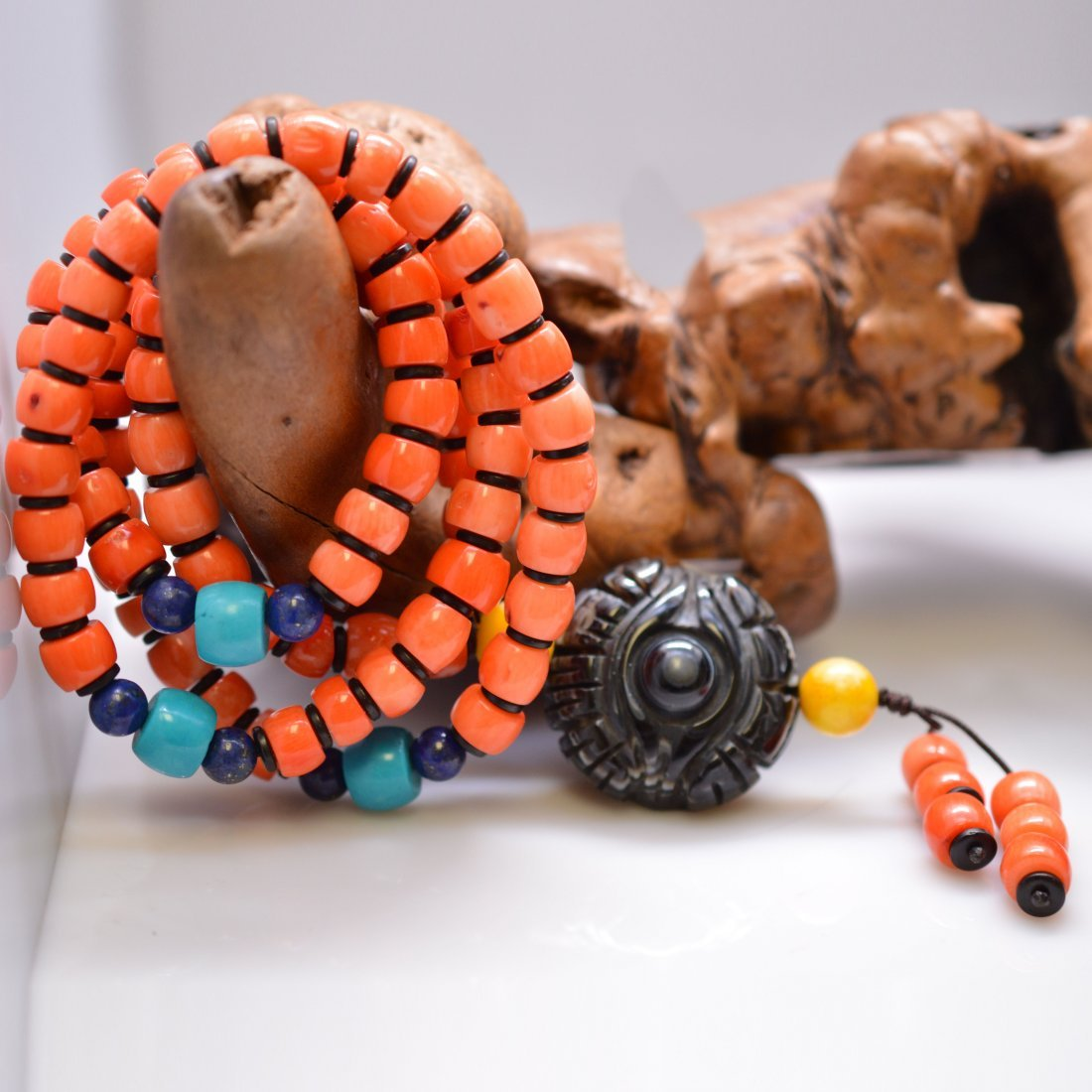 Dzi Bead Coral Bead Necklace