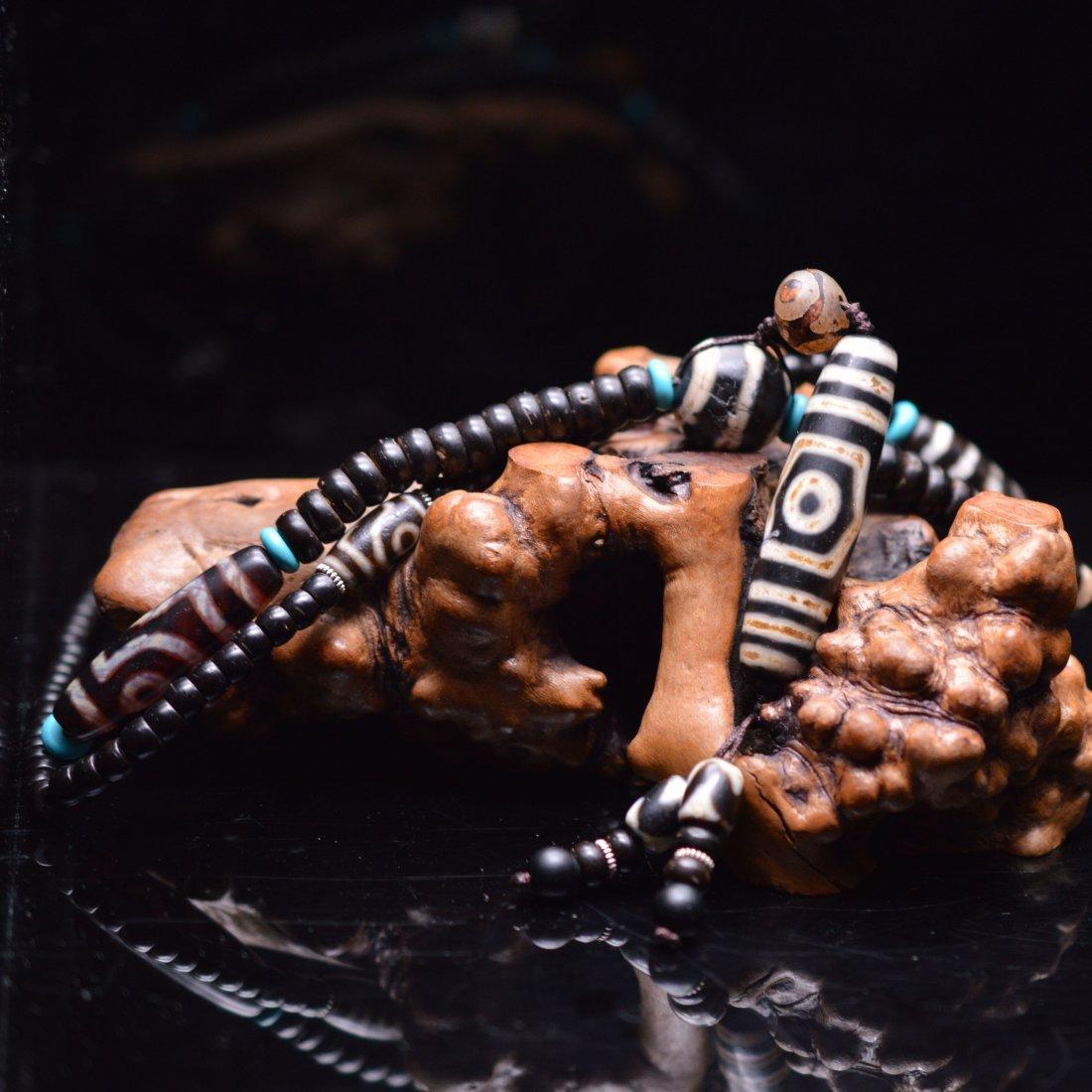 Three-Eyed Dzi Bead Necklace