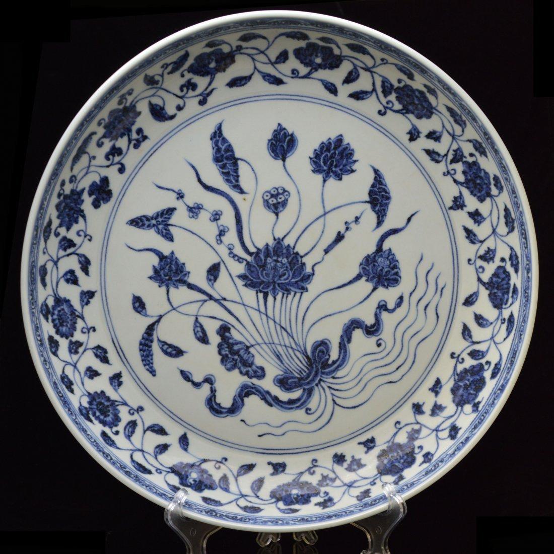 Large Blue & White Porcelain Lotus Plate