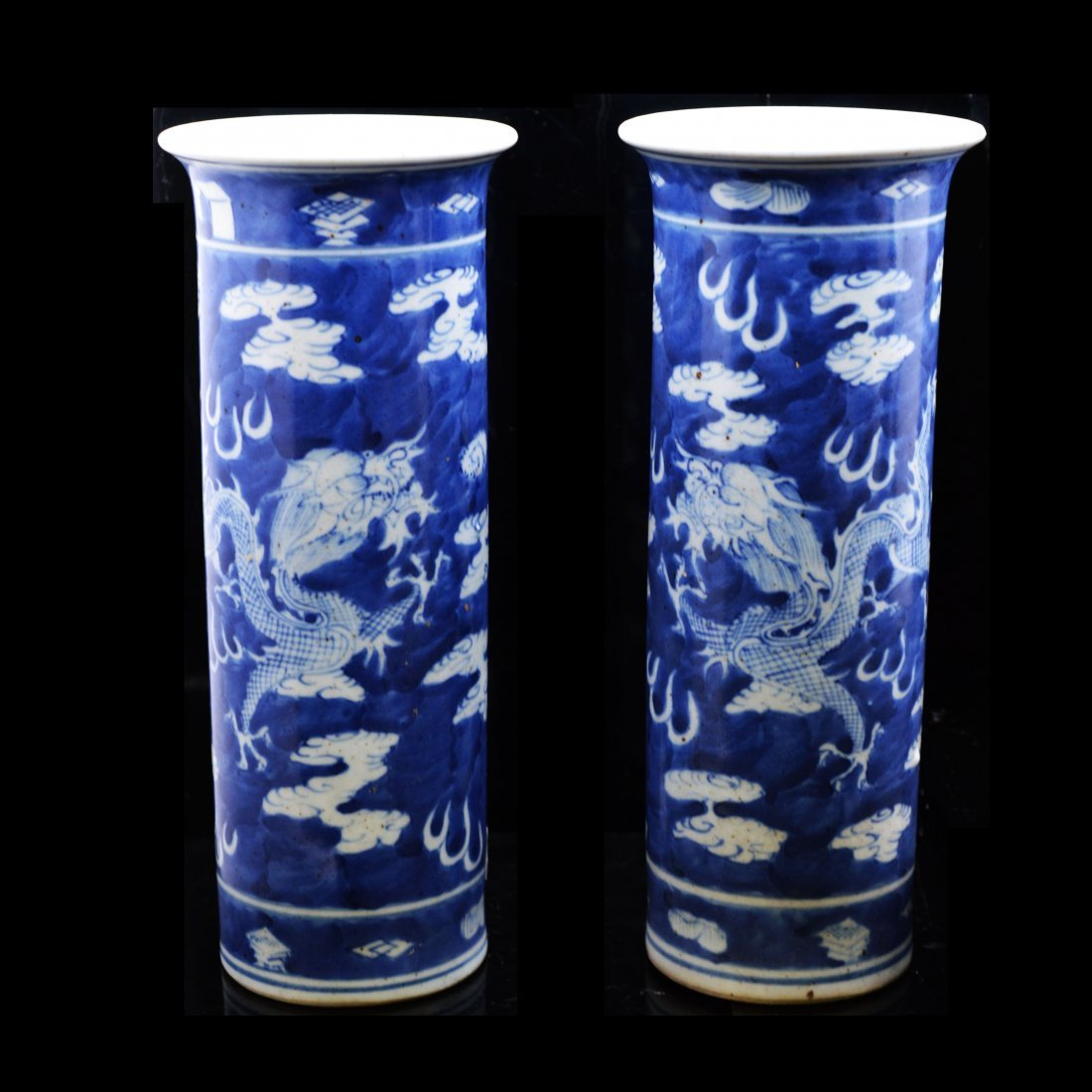 Pair of Vintage Blue & White Porcelain Vases