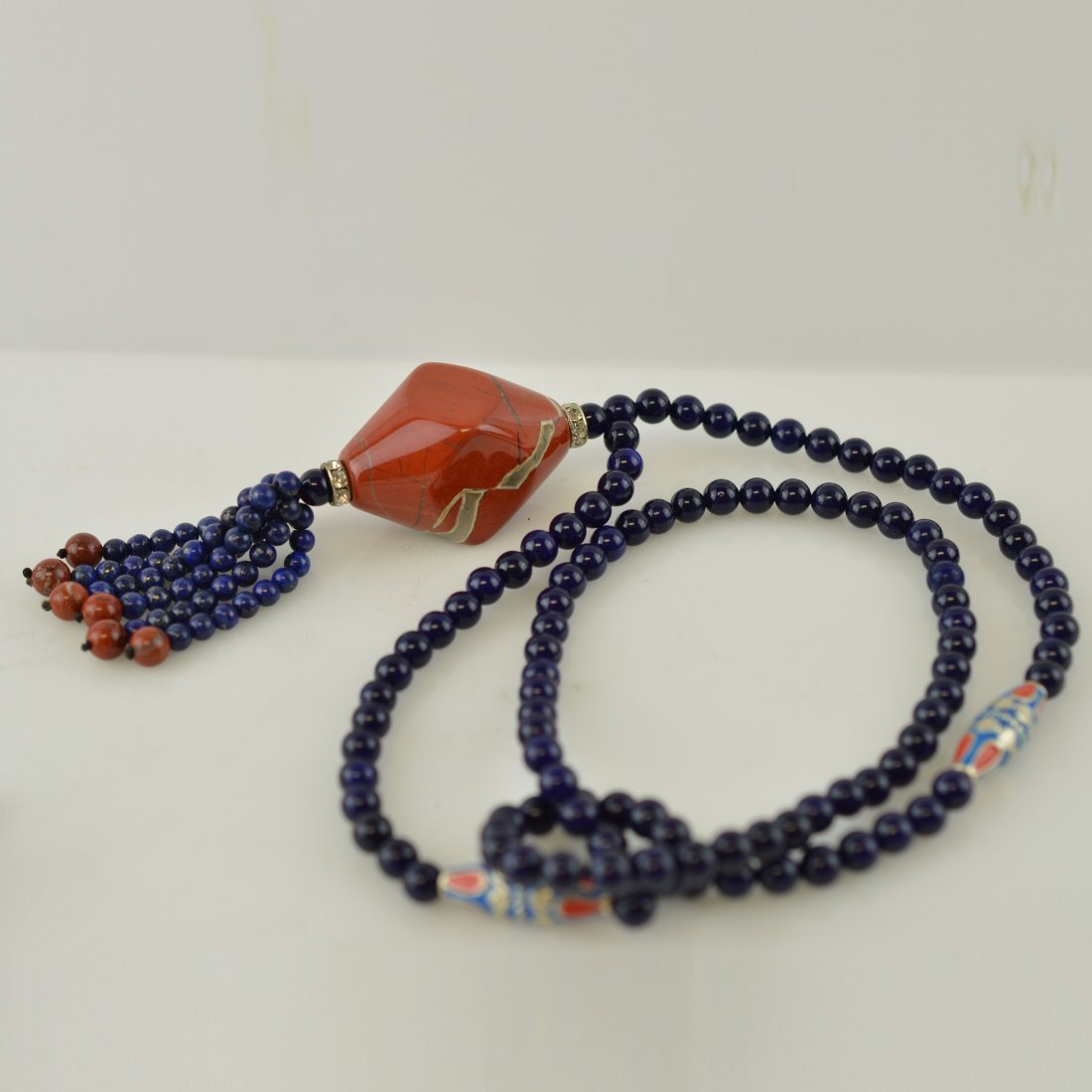 Nanhong Agate Pendant w/Lapis Lazuli Necklace