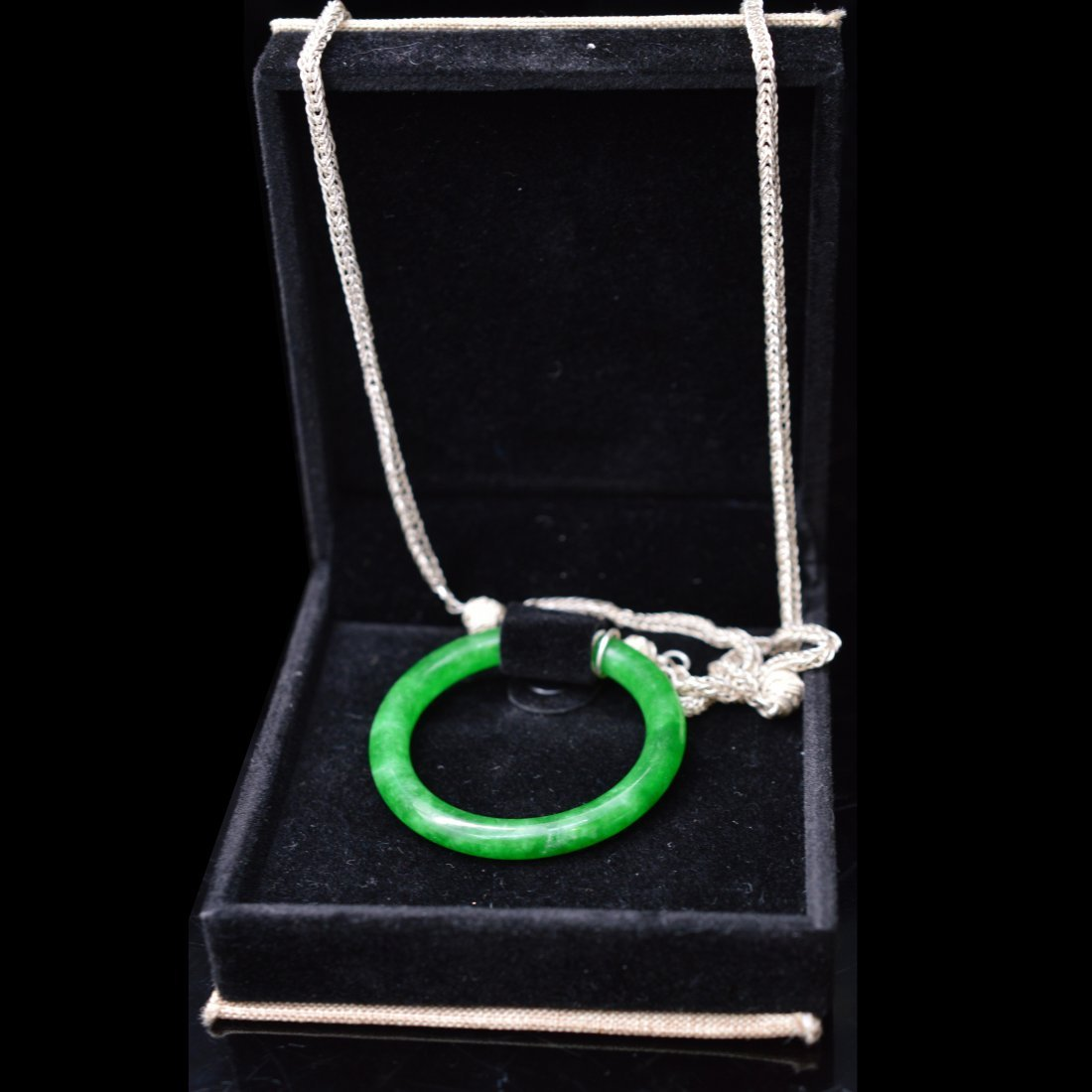 Certified Natural Jadeite Pendant w/Silver Necklace