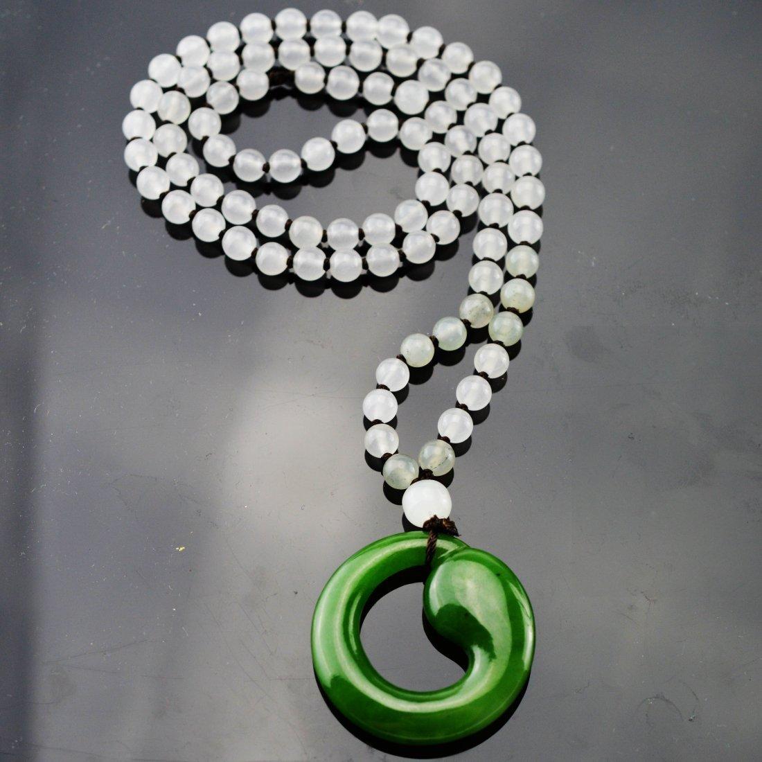 Xin Jiang Green Jade Pendant w/Jade Bead Necklace