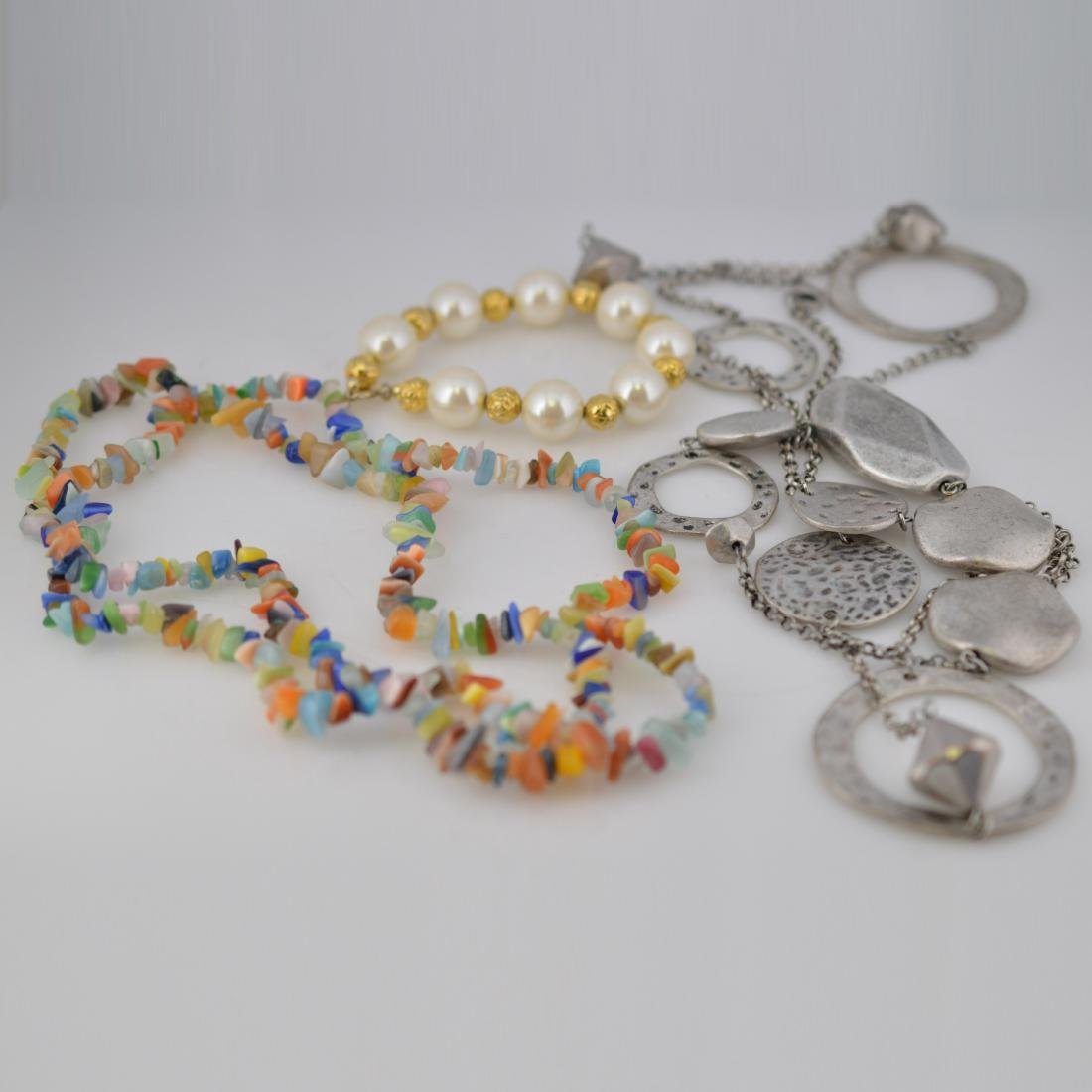 Silver Necklace + Pearl Bracelet + Color-Gem Necklace