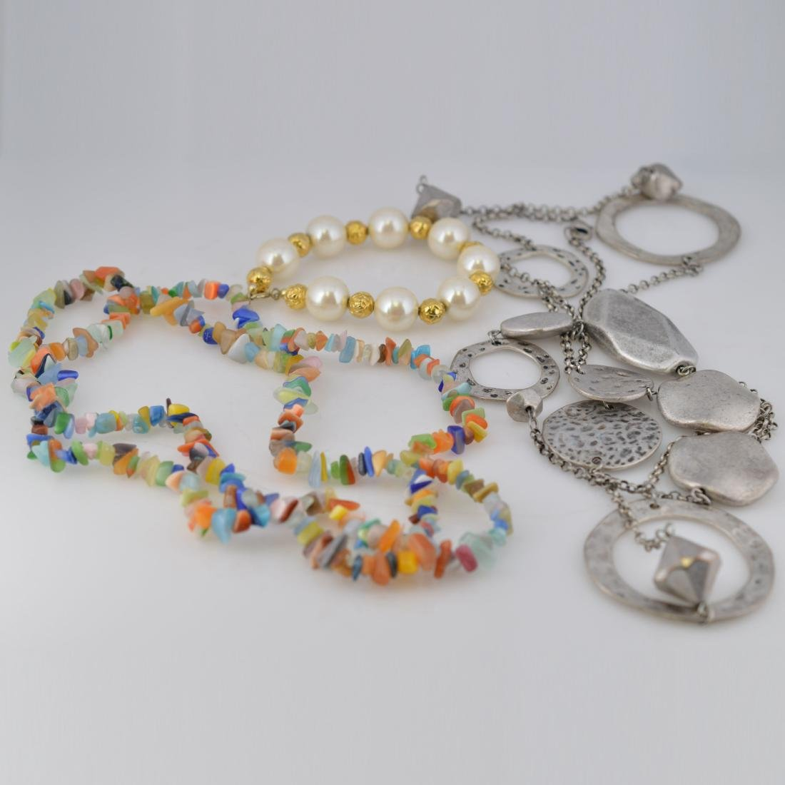 Silver Necklace + Pearl Bracelet + Color-Gem Necklace - 2